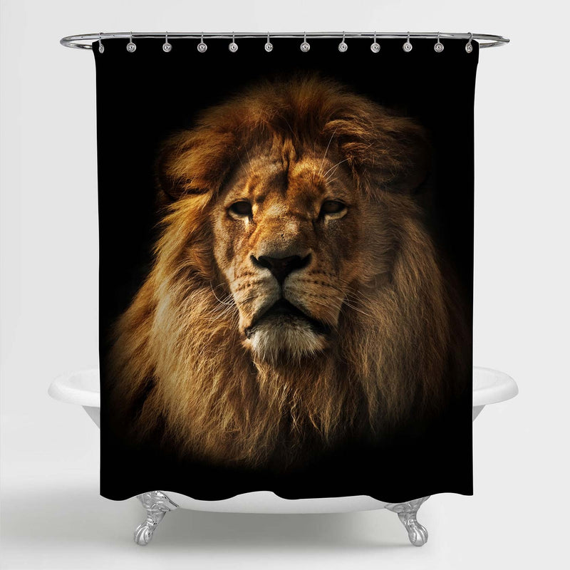 Majestic Old Lion Portrait Shower Curtain - Gold Black