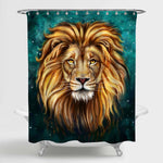 Lion Looking at You Shower Curtain - Gold Green