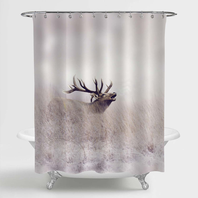 Mature Elk Walking in Tall Grass Nature Scenic Shower Curtain - Sand