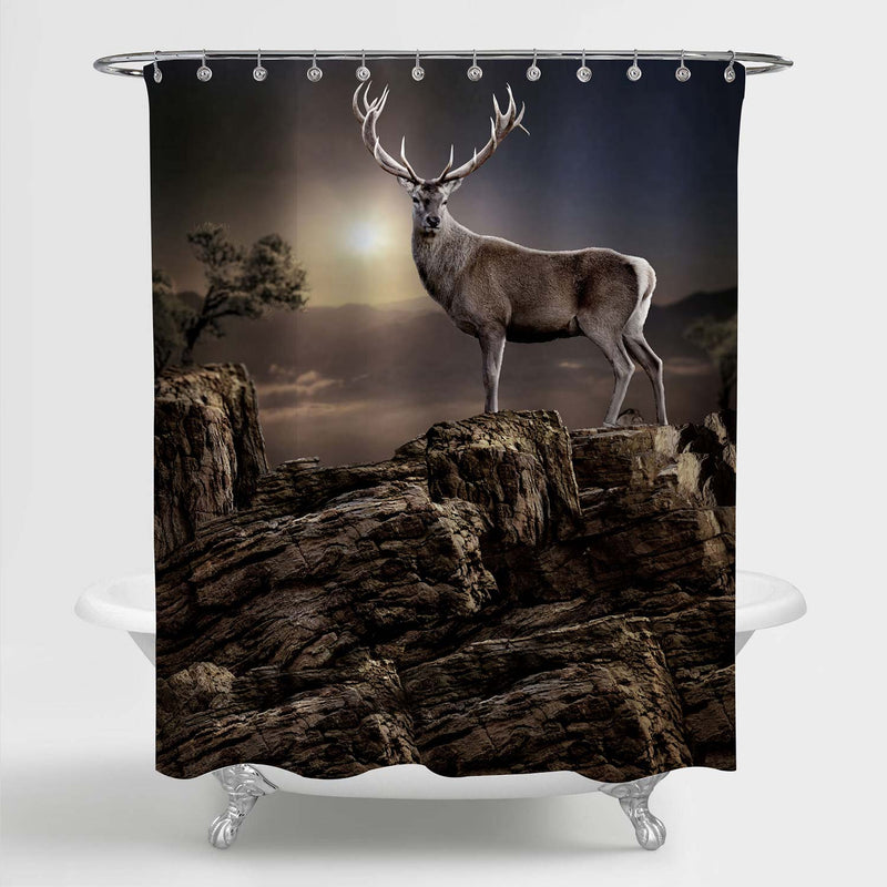 Deer Standing on Mountain Peak Rocks with Sunset Light Background Shower Curtain - Brown