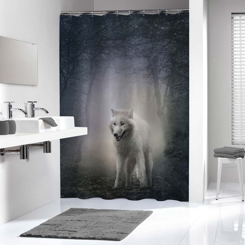 White Wolf in The Night Forest Shower Curtain - Grey