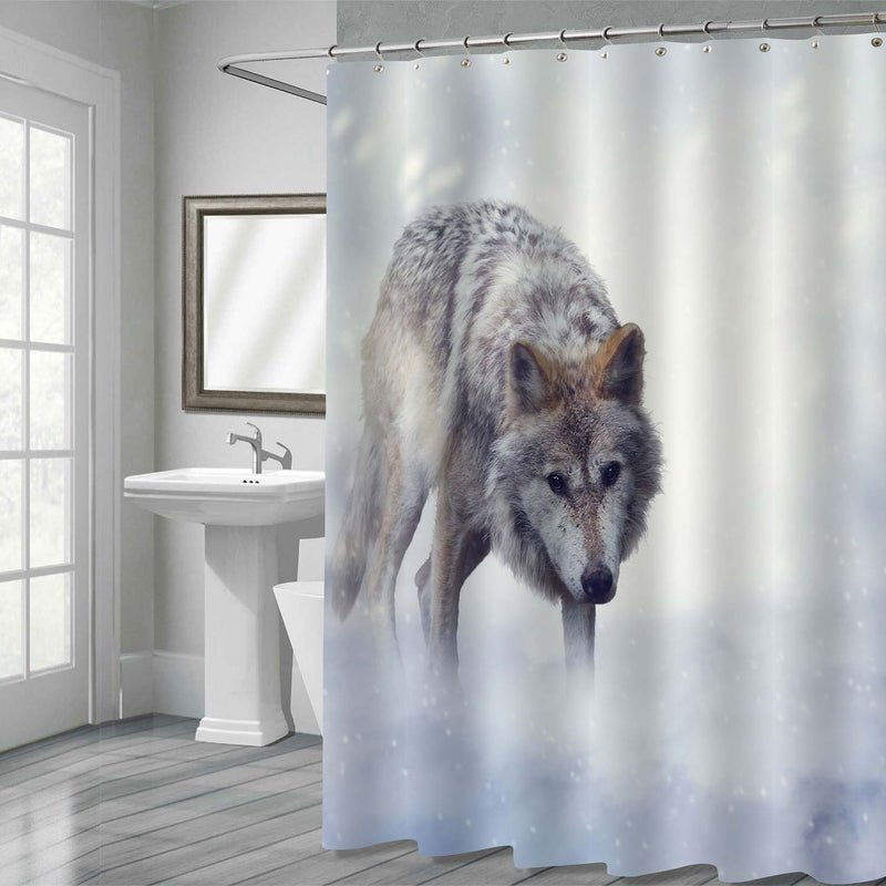 Lonely Gray Wolf Walking on the Snow Shower Curtain - Grey