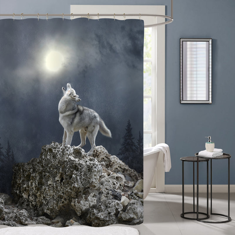 A Gray Wolf Howls to the Moon Shower Curtain - Dark Grey