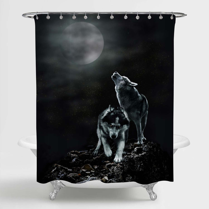Couple Wolves Howling in the Wilderness with Full Moon Background Shower Curtain - Black