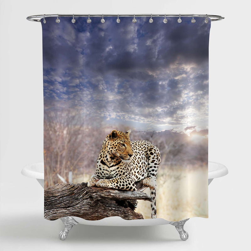 A Leopard Resting in Bush Shower Curtain - Gold Grey