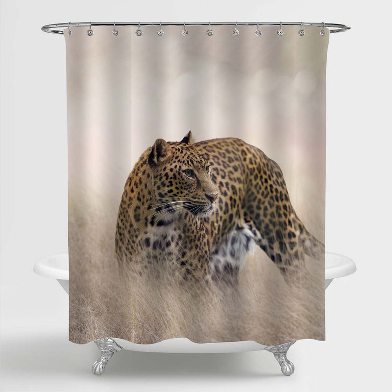 Cheetah in Grassland Stands with Head Turned Shower Curtain - Gold