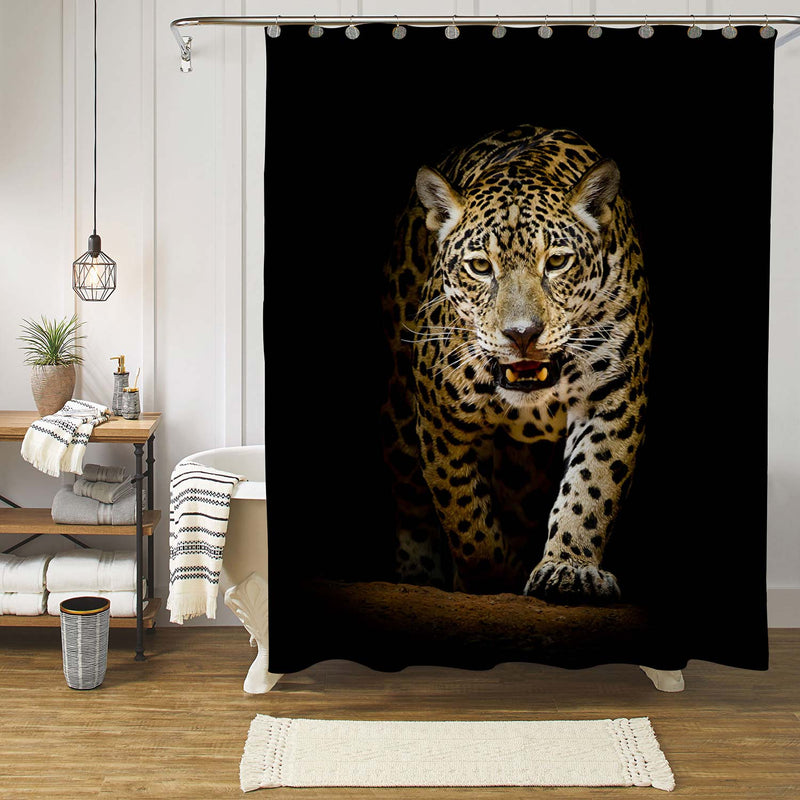 Sneaks and Walking Leopard Shower Curtain - Gold Black