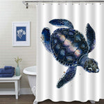 Watercolor Sea Turtle Shower Curtain - Dark Blue