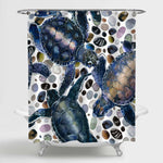 Sea Turtles Playing Pebble Stones Shower Curtain - Dark Blue