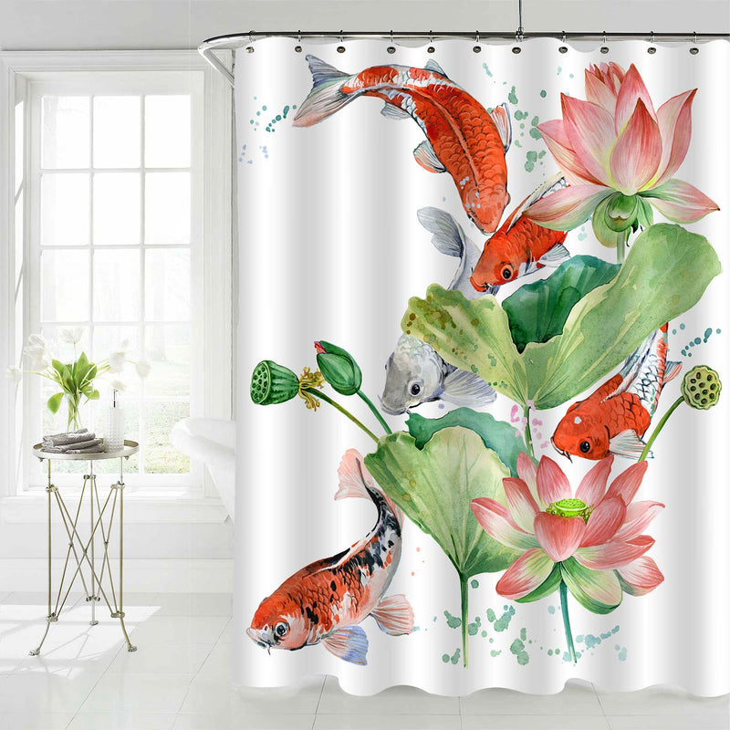 Chinese Koi Carp Shower Curtain - Red Green