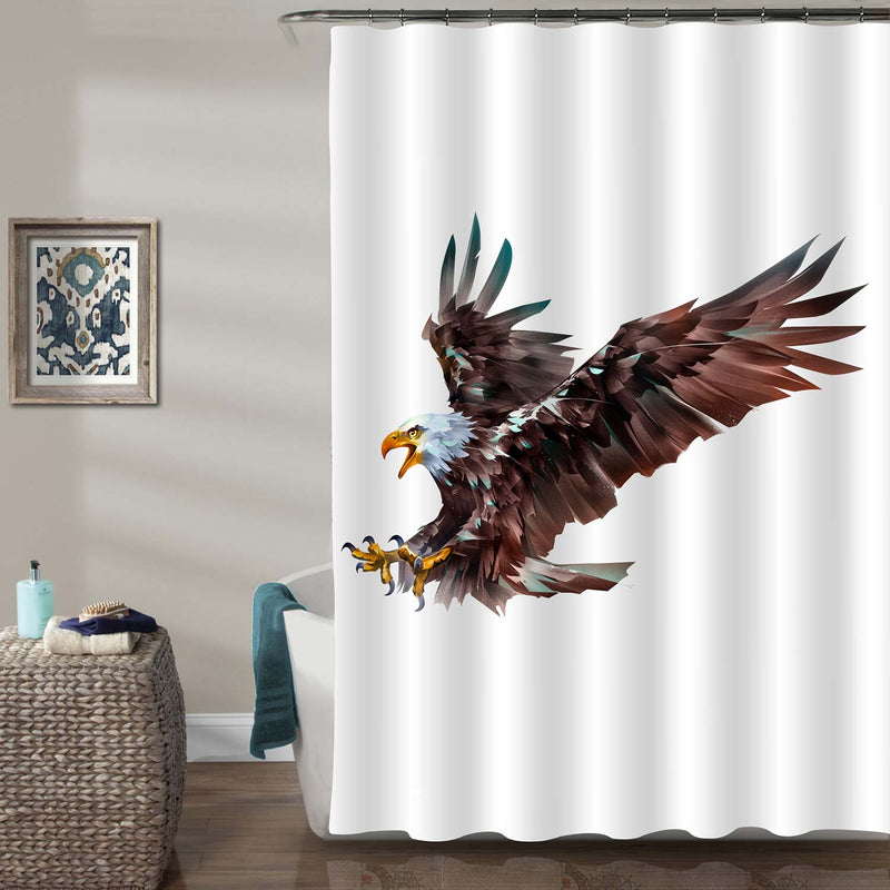 Attacking Eagle Bird in Flight Shower Curtain - Brown