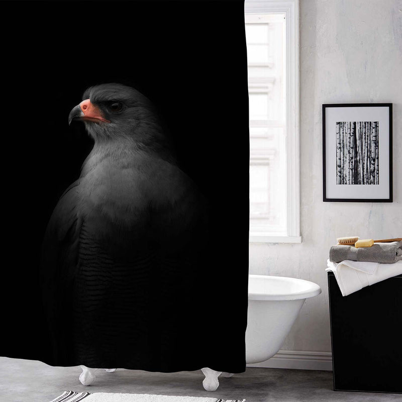 Pale Chanting Goshawk Portrait Shower Curtain - Black