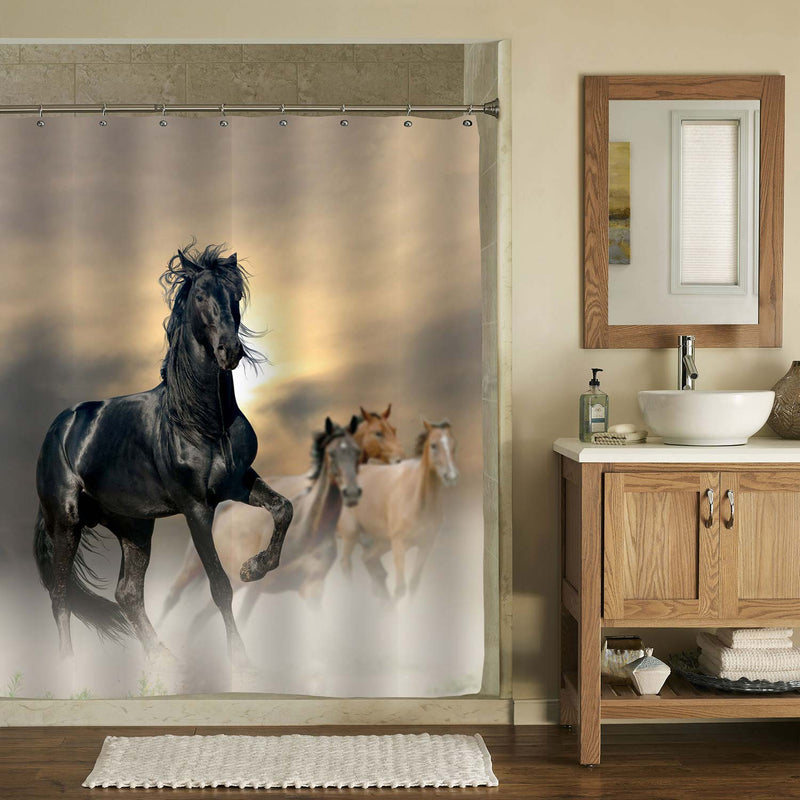 Horses Running in Grassland Shower Curtain - Black Brown