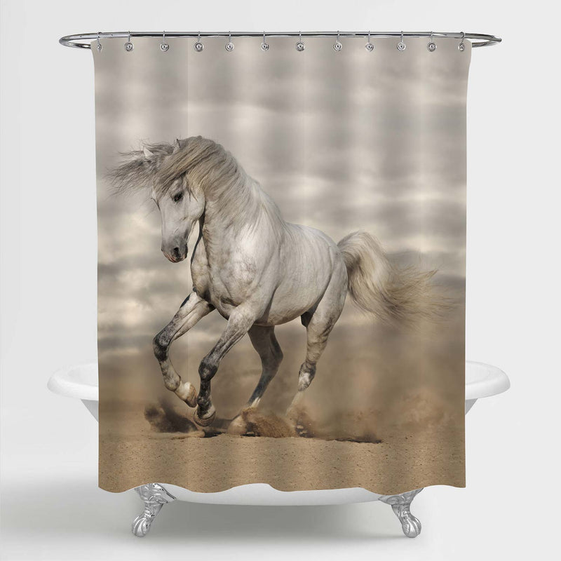 Arab Horse Galloping in Desert Shower Curtain - Grey