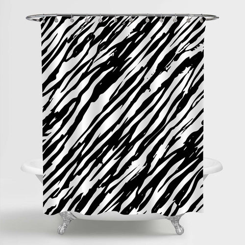 Zebra Pattern Shower Curtain - Black White