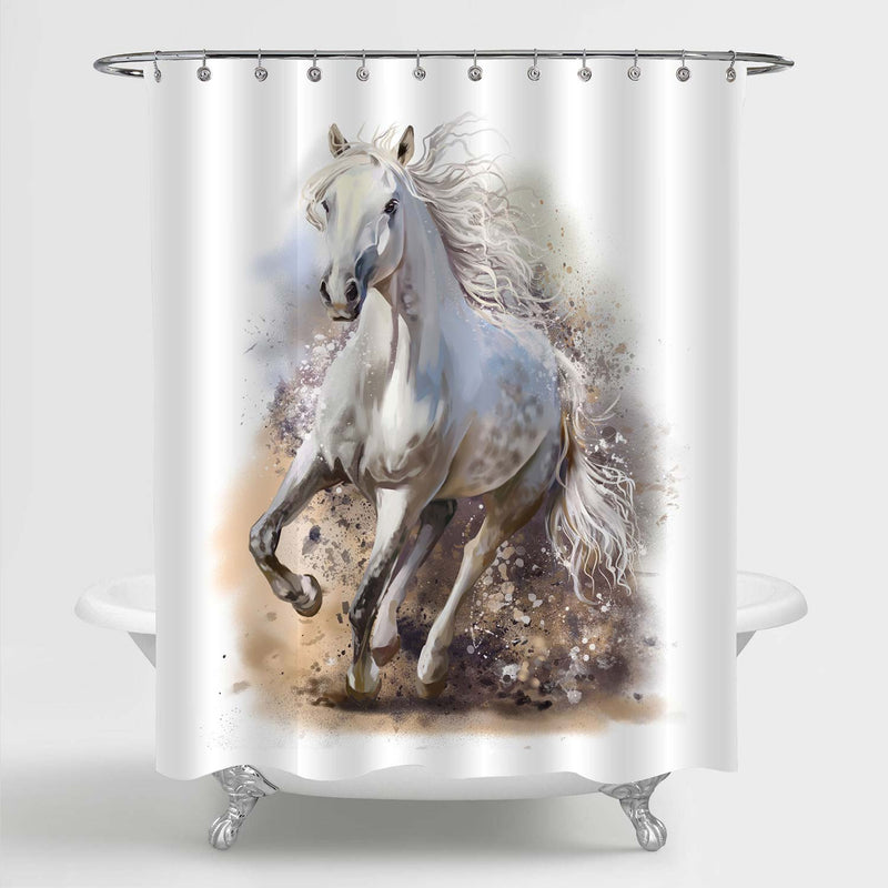 Watercolor White Horse Runs in Dust Shower Curtain