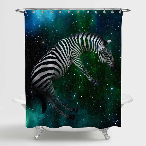 Zebra Floating in the Space Shower Curtain - Green White