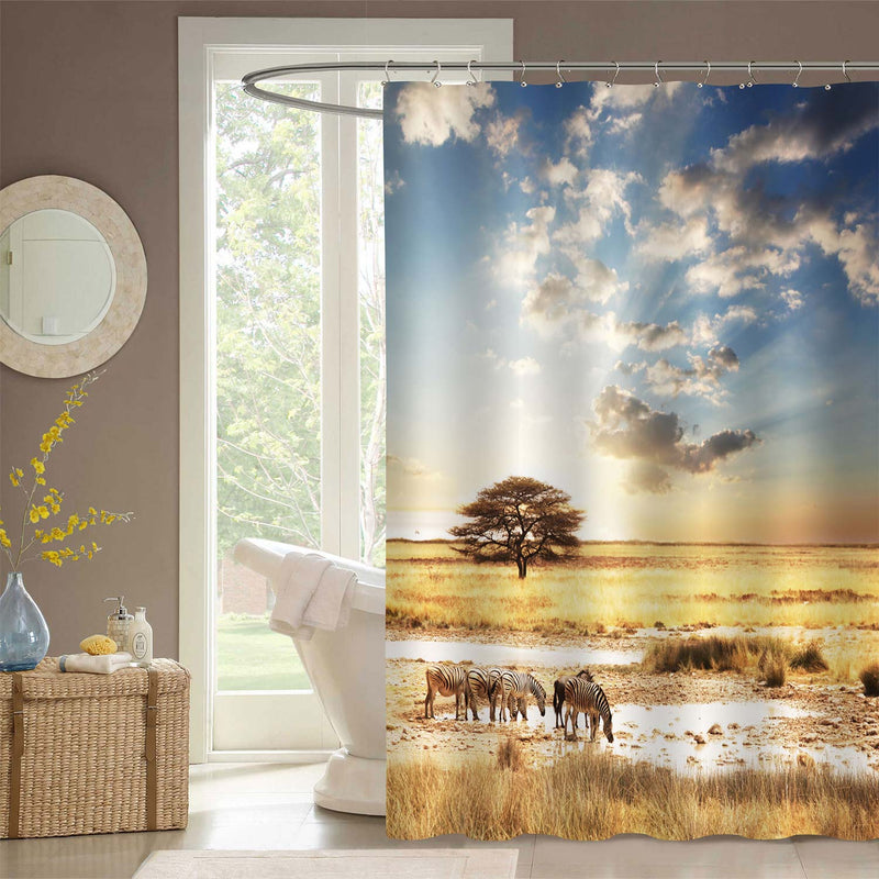 Zebra at Sunset Decorative Shower Curtain Set with Hooks, Africa Nature Landscape with Beautiful Sunset Light Bathroom Tub Decoration, Cloth, Gold Blue, 72 x 78 inches Long