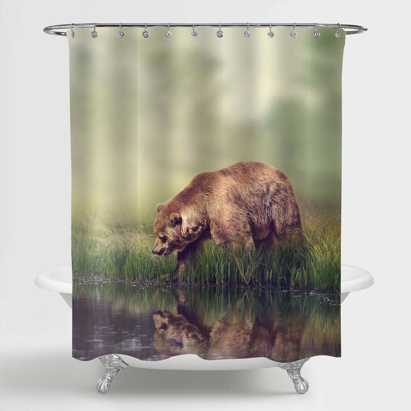Brown Bear Near the Pond Shower Curtain - Brown Green