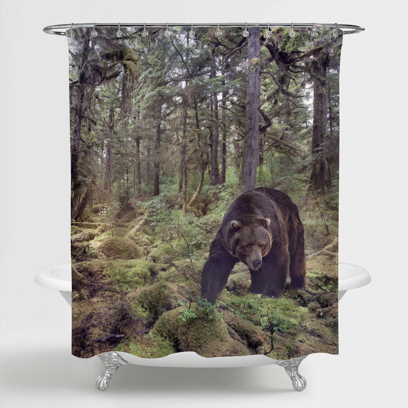 Grizzly Bear Walking in the Woods Shower Curtain - Brown Green