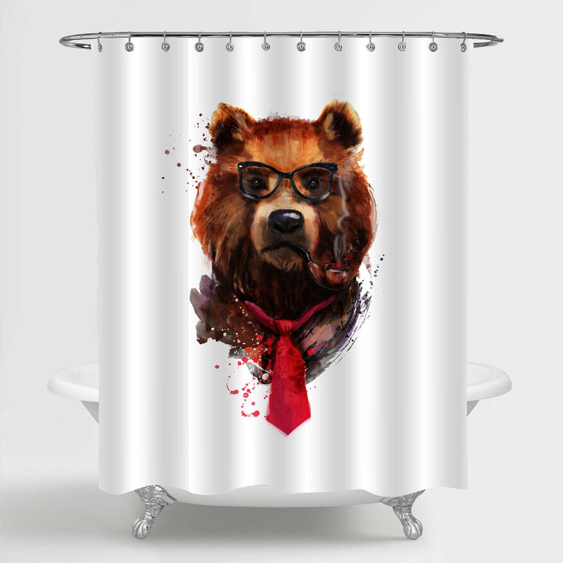 Hipster Bear Portait Shower Curtain - Brown