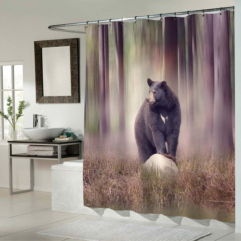 Black Bear on a Rock in the Woodland Shower Curtain - Brown