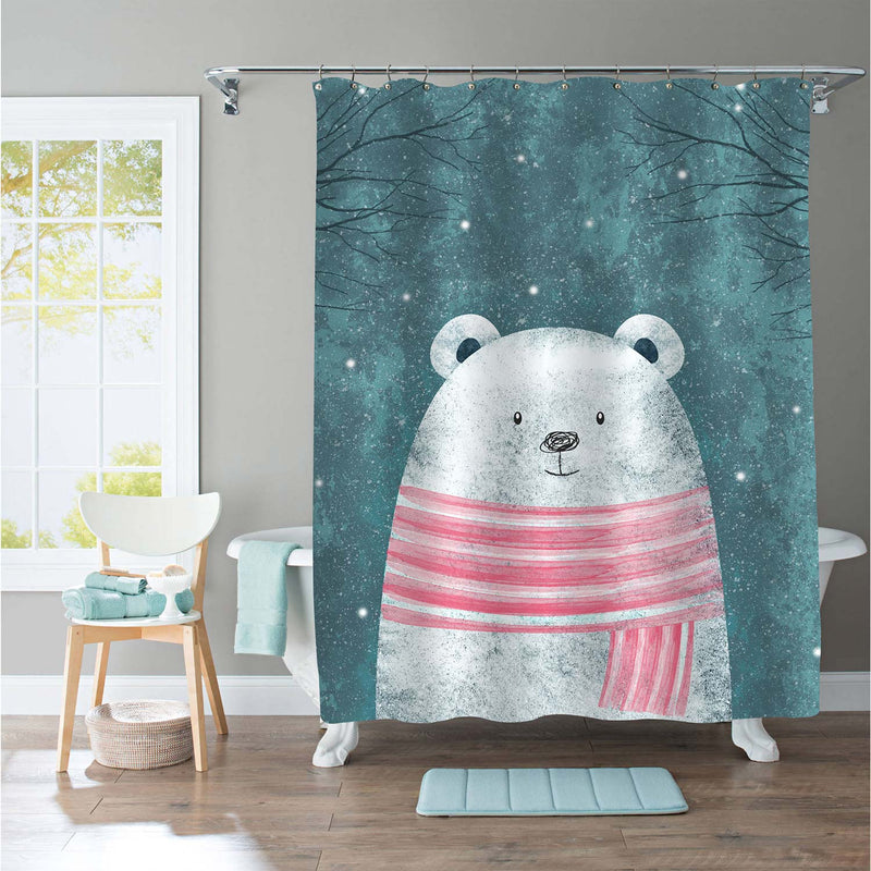 Cute Polar Bear in Pink Scarf Shower Curtain for Winter Home Decorations, Novelty for Children, Waterproof Washable Fabric Bathroom Accessories, Green, 72 x 78 inches