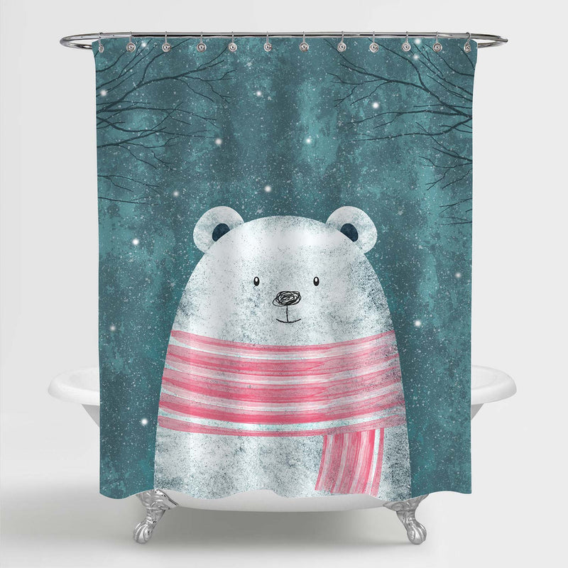Cute Polar Bear in Pink Scarf Shower Curtain for Winter Home Decorations, Novelty for Children, Waterproof Washable Fabric Bathroom Accessories, Green, 72 x 72 inches
