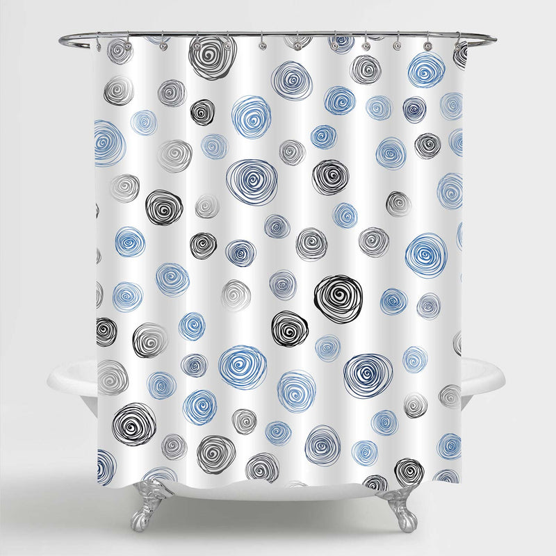 Abstract Grunge Circle Shower Curtain - Blue Black