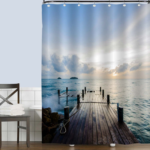 Wooden Footbridge During Sunrise Shower Curtain - Blue