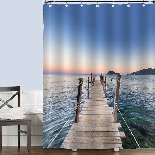 Wooden Footbridge Platform Stretching into the Sea Shower Curtain - Blue
