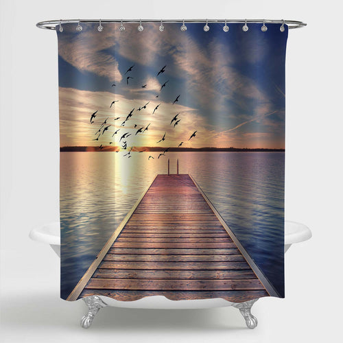 Wooden Dock Bridge with Stairway to Lake Water Shower Curtain - Gold Blue