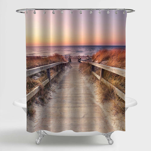 Wooden Path Over Sand Dunes with Ocean View Shower Curtain - Gold Sand