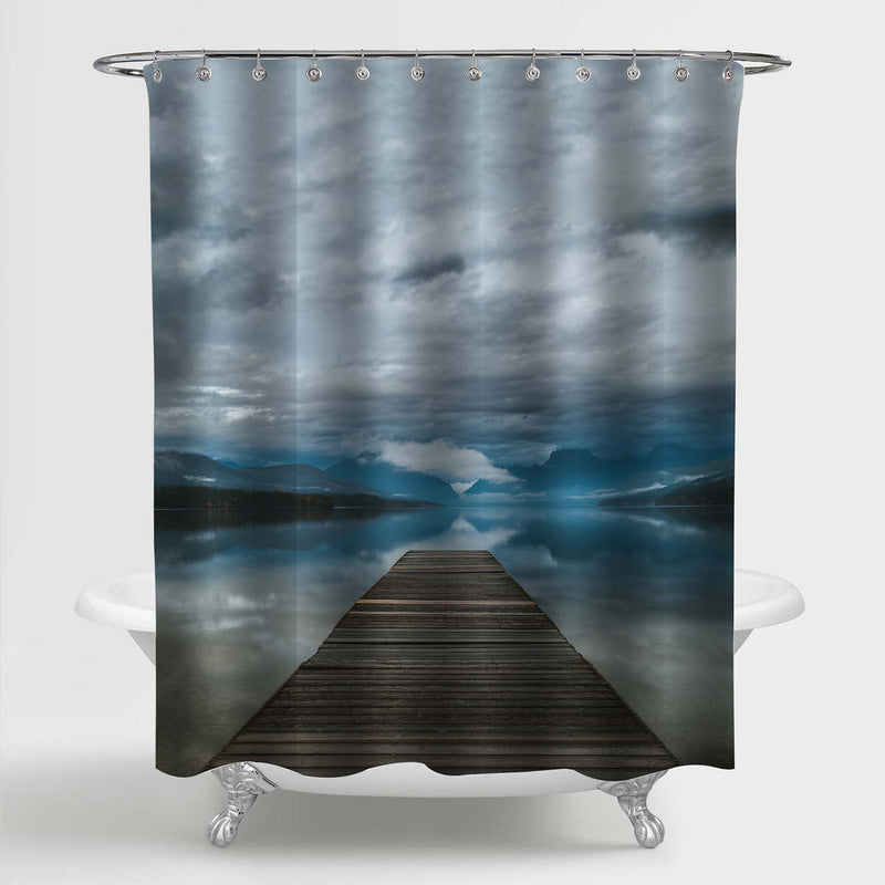 Lake Fishing Pier on Overcast Day Shower Curtain - Blue Grey