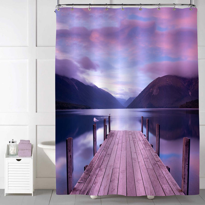 Old Wooden Pier on Lake During Sunset with Dramatic Sky Shower Curtain - Pruple