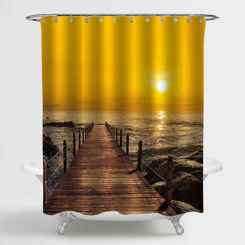 Wooden Pier on Seashore Stone Shower Curtain - Gold