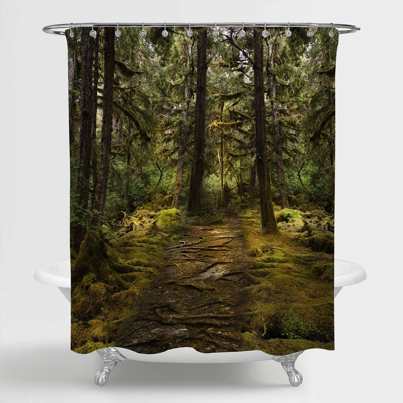 Pathroad in Shady Jungle Shower Curtain - Green