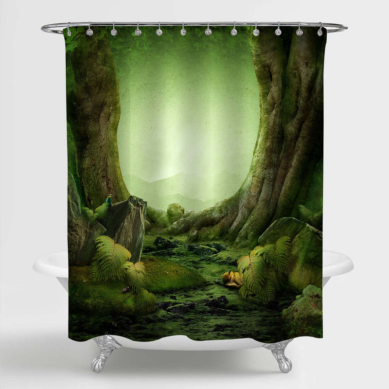 Dreamily Forest Spring Scenery Shower Curtain - Green