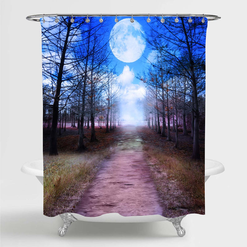 Dream View of Full Moon and Woods Night Scenery Shower Curtain - Blue Brown