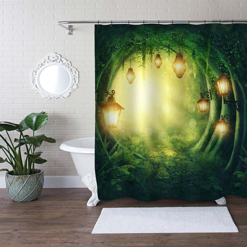 Path Road in a Magic Dark Forest Kids Bathroom Shower Curtain, Fairy Tale Woodland with Lanterns Digital Illustration Artwork, Waterproof Washable, Green Gold, 72 by 78 inches Long