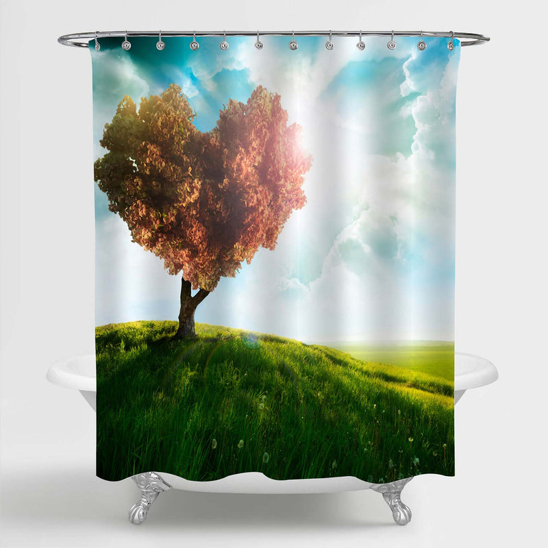 Romantic Green Field with Heart Shape Tree Under Blue Sky Shower Curtain - Green Red