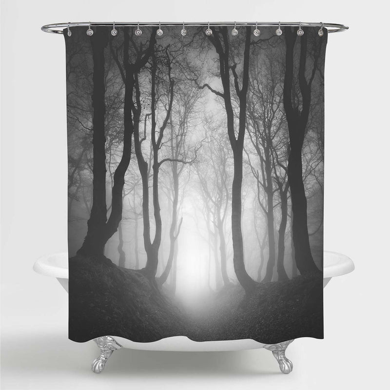 Sunken Lane Through Haunted Forest of Spooky Gnarled Beech Trees in Thick Fog Shower Curtain - Grey
