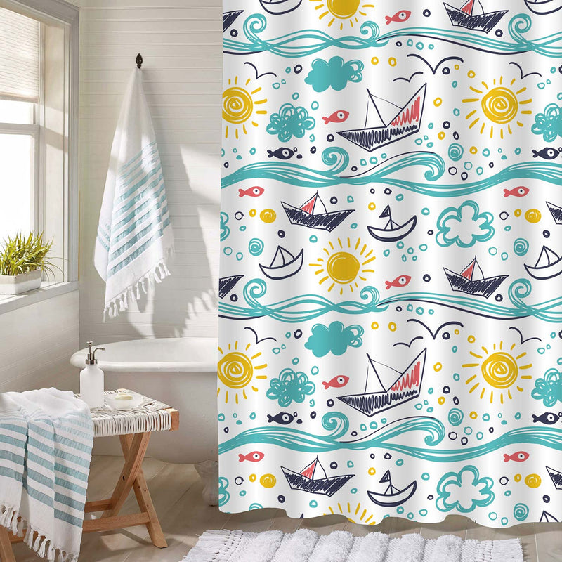Hand Drawn Colorful Ocean Themed Decorative Shower Curtain with Ships Sun Sea and Fishes, Adorable Bathroom Accessories for Children Summer Home Decor, Cloth, Green White Gold, 50 x 78