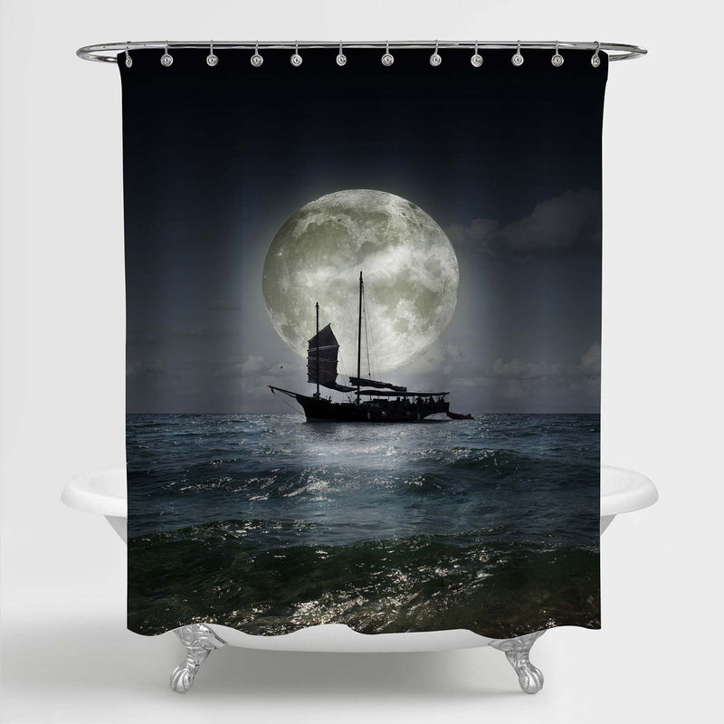 Lonely Sailboat on the Sea at Night with Full Moon Shower Curtain - Dark Blue