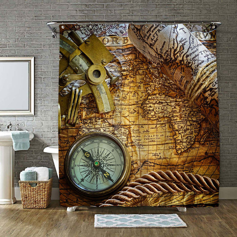 Vintage Nautical Shower Curtain - Gold