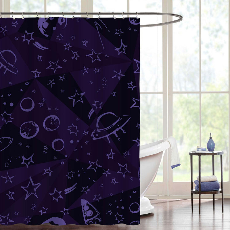 Abstract Space Pattern Shower Curtain - Purple