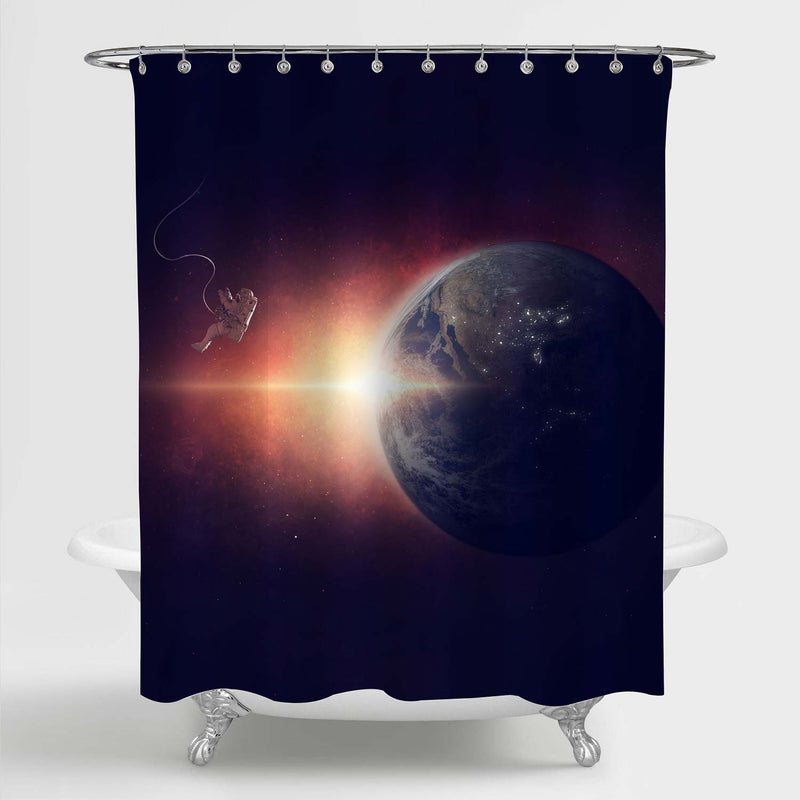 Astronaut Lost in Space Shower Curtain - Red Black