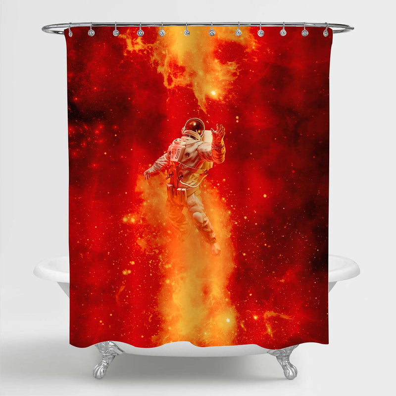 Astronaut Floating in Space Amid Glowing Fiery Galaxies Shower Curtain - Red
