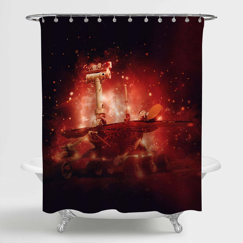 Curiosity Mars Rover Exploring the Surface Planet of Mars Shower Curtain - Red