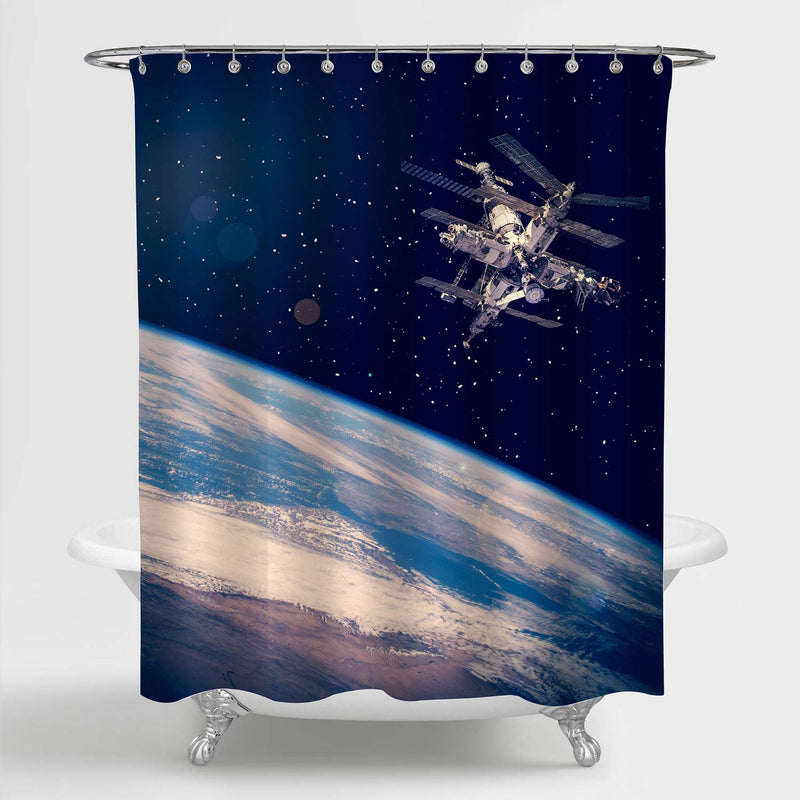 Space Station above the Earth Shower Curtain - Blue